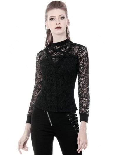 Dark in Love Black Gothic Pentagram Lace Long Sleeve T-Shirt for Women