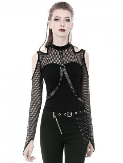 Dark in Love Black Gothic Punk Belt Off-the-Shoulder Long Sleeve T-Shirt for Women