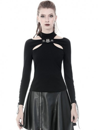 Dark in Love Black Gothic Punk Sexy Long Sleeve T-Shirt for Women