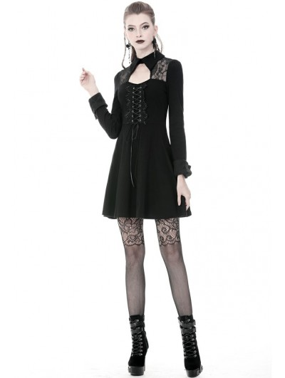 Dark in Love Black Gothic Long Sleeve Lace up Short Dress