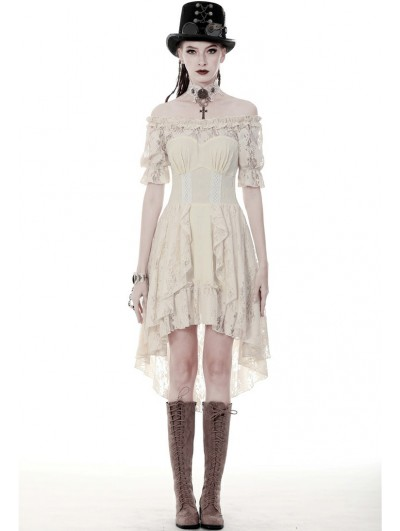 Dark in Love Ivory Steampunk Lace Short Sleeve High-Low Dress