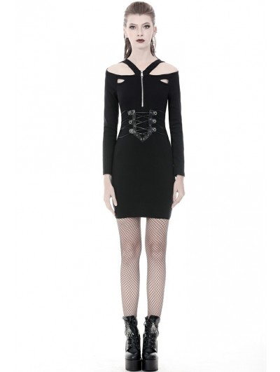 Dark in Love Black Gothic Punk Long Sleeve Sexy Slim Short Dress