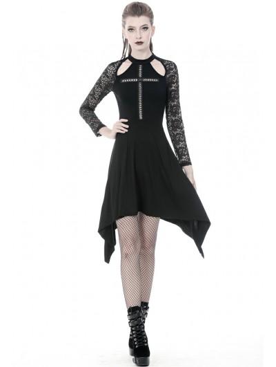 Dark in Love Black Gothic Cross Long Sleeve Irregular Dress