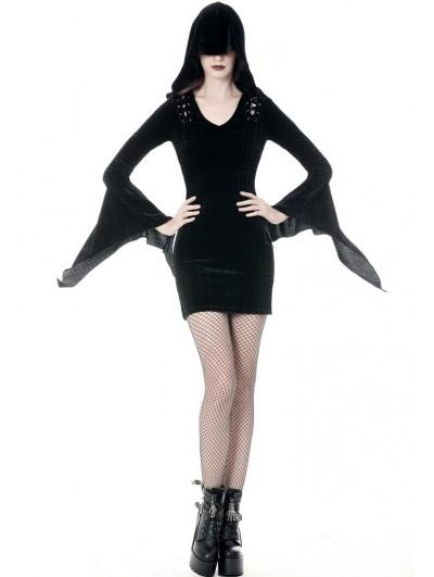 Dark in Love Black Gothic Hooded Holloween Witch Short Dress