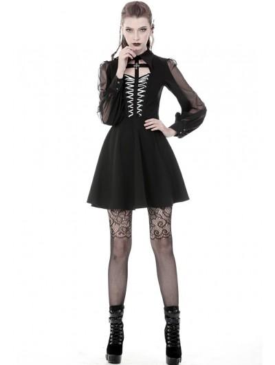 Dark in Love Black Gothic Chiffon Cross Long Sleeve Short Dress