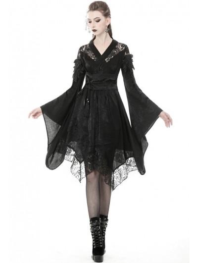 Dark in Love Black Gothic Lace Short Kimono Dress