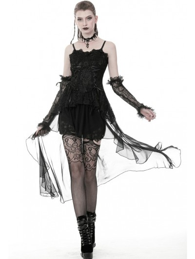 Dark in Love Black Gothic Elegant Lace Dress with Long Tulle Tail