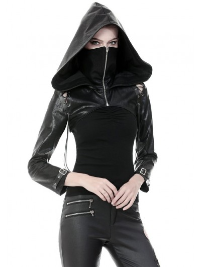 Dark in Love Black Gothic Punk PU Leather Masked Hooded Short Jacket for Women