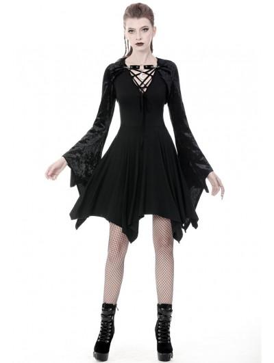 Dark in Love Black Gothic Velvet Witch Hooded Short Cape for Women