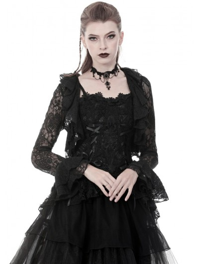 Dark in Love Black Gothic Short Lace Cape for Women