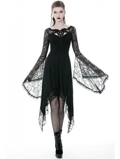 Dark in Love Black Gothic Lace Long Sleeve Asymmetrical Dress