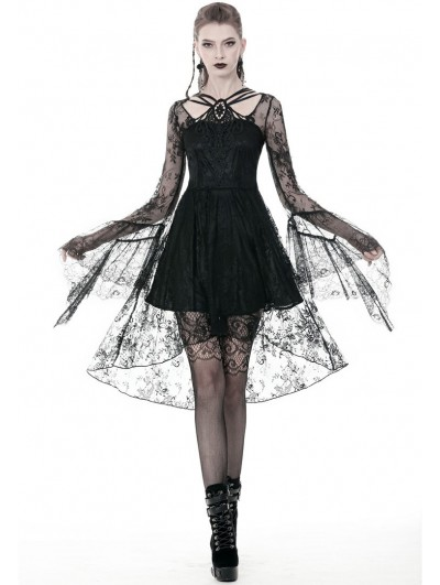 Dark in Love Black Gothic Lace Long Sleeve High-Low Party Dress