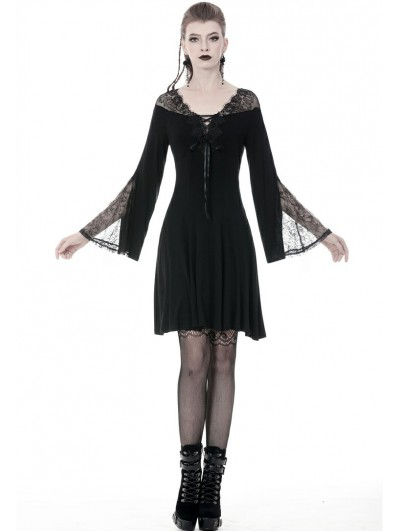 Dark in Love Black Gothic Long Sleeve Lace A-Line Short Dress