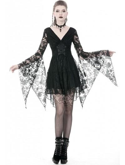 Dark in Love Black Gothic Kimono Style Lace Short Dress