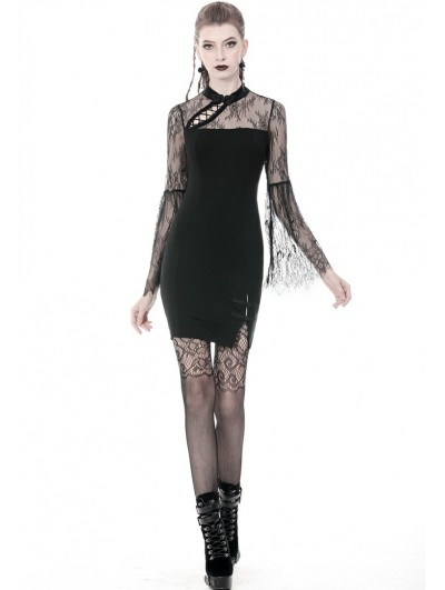 Dark in Love Black Vintage Gothic Cheongsam Style Sexy Slim Short Dress
