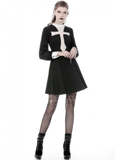 Dark in Love Black and White Vintage Gothic Skull Cross Long Sleeve Short Dress