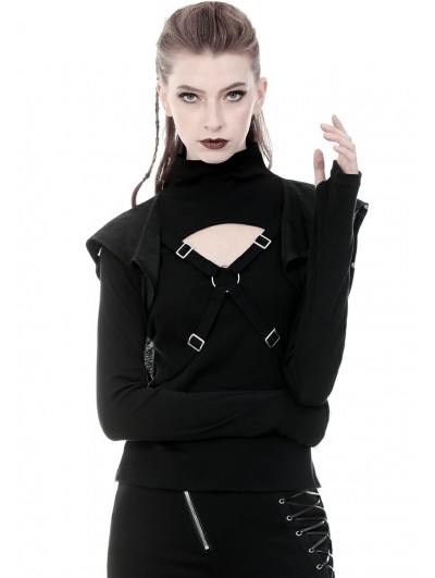Dark in Love Black Gothic Punk Cross Long Sleeve Hooded T-Shirt for Women