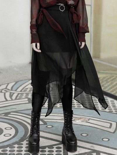 Punk Rave Street Fashion Chiffon Black Irregular Gothic Grunge Skirt