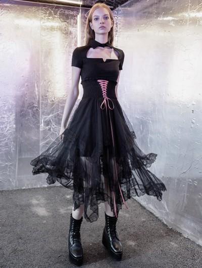 Punk Rave Street Fashion Black Tulle Irregular Gothic Grunge Skirt