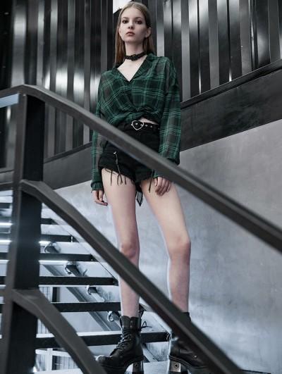 Punk Rave Street Fashion Green Plaid Chiffon Gothic Punk Blouse for Women