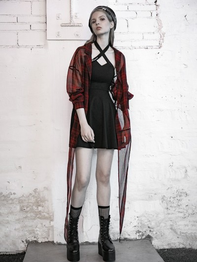 Punk Rave Street Fashion Red Plaid Chiffon Gothic Punk Blouse for Women