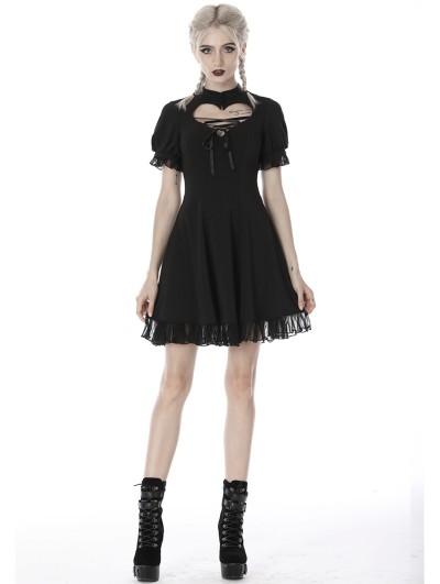 Dark in Love Black Gothic Girl Short Sleeve Heart Midi Dress
