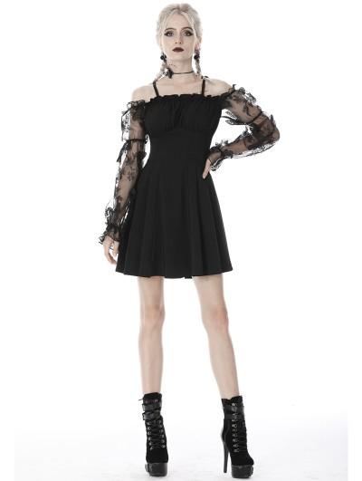 Dark in Love Black Gothic Off-the-Shoulder Butterfly Short Dress