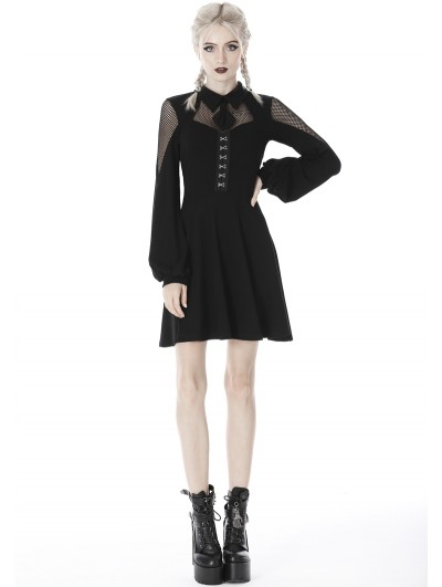 Dark in Love Black Gothic Girl Long Sleeve Short Daliy Dress