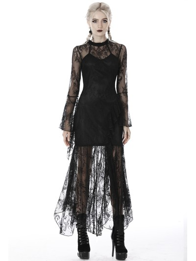 Dark in Love Black Gothic Lace Asymmetrical Long Dress