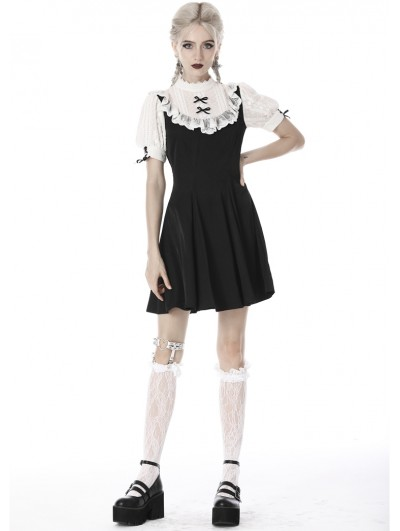 Dark in Love Black and White Gothic Girl Doll Midi Dress