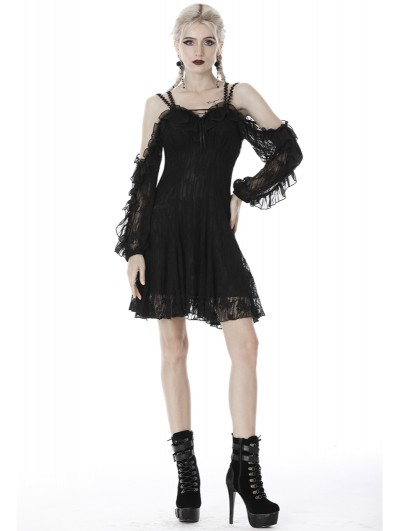Dark in Love Black Gothic Off-the-Shoulder Long Sleeve Lace Short Dress