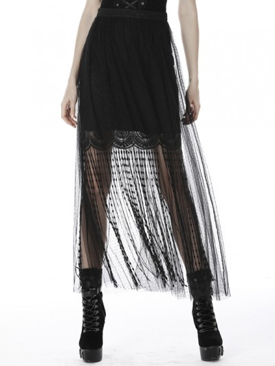Dark in Love Black Gothic Punk Tassel Lace Mesh Long Skirt