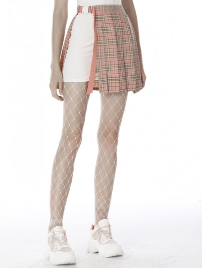 Dark in Love Pink Street Fashion Gothic Grunge Pleated Plaid Short Skirt