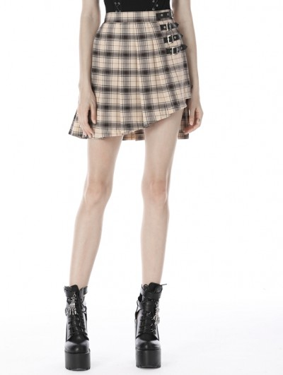 Dark in Love Ivory Street Fashion Gothic Grunge Irregular Pleated Plaid Short Skirt