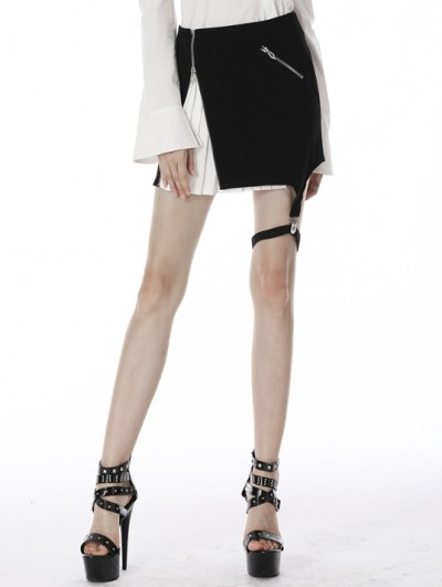 Dark in Love Black and White Gothic Grunge Punk Irregular Short Skirt