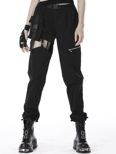 Dark in Love Black Gothic Punk Grunge Hollow-Out Long Trousers for Women