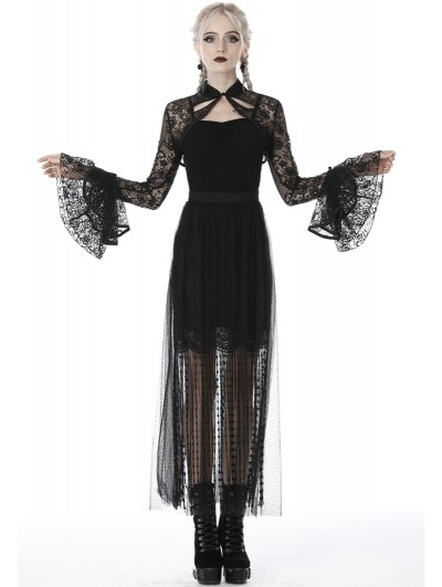 Dark in Love Black Vintage Gothic Lace Cape for Women