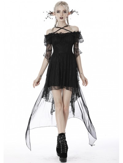 Dark in Love Black Gothic Princess Off-the-Shoulder Lace Tail Party Dress