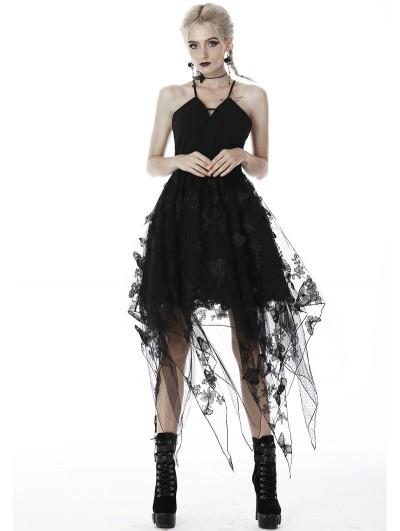 Dark in Love Black Gothic Butterfly Irregular Party Dress