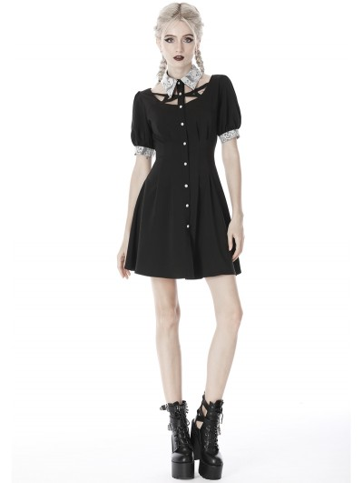 Dark in Love Black and White Gothic Skull Short Sleeve Short Dress
