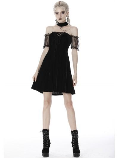 Dark in Love Black Gothic Velvet Off-the-Shoulder Short Dress with Moon Choker