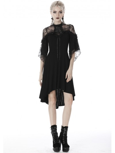 Dark in Love Black Gothic Lace High-Low Cocktail Dress