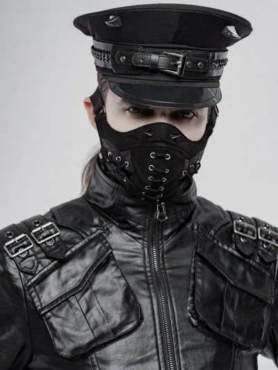 Punk Rave Black Gothic Punk Cool Face Mask for Men