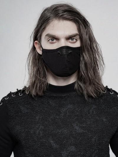 Punk Rave Black Gothic Daily Punk Rivet Mask for Men