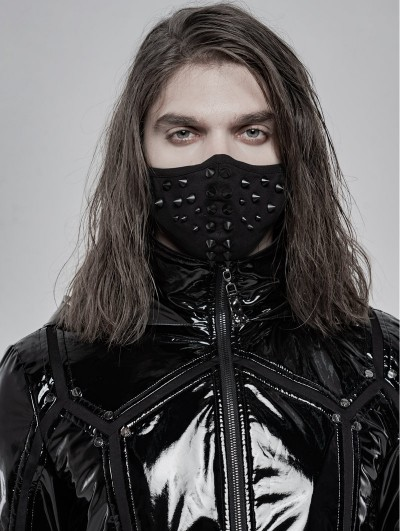 Punk Rave Black Gothic Punk Rivet Mask for Men