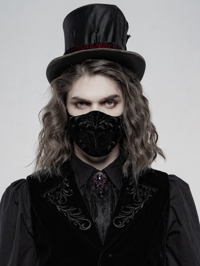 Punk Rave Black Gothic Embroidered Mask for Men