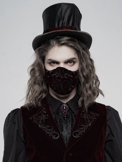 Punk Rave Red Gothic Embroidered Mask for Men
