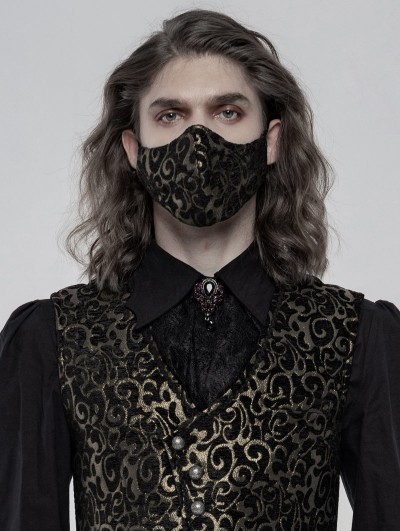 Punk Rave Gold Gothic Jacquard Masks for Men