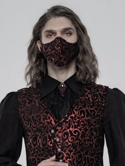 Punk Rave Red Gothic Jacquard Masks for Men
