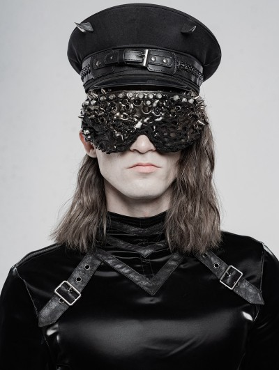 Punk Rave Black Gothic Punk Military Hat for Men